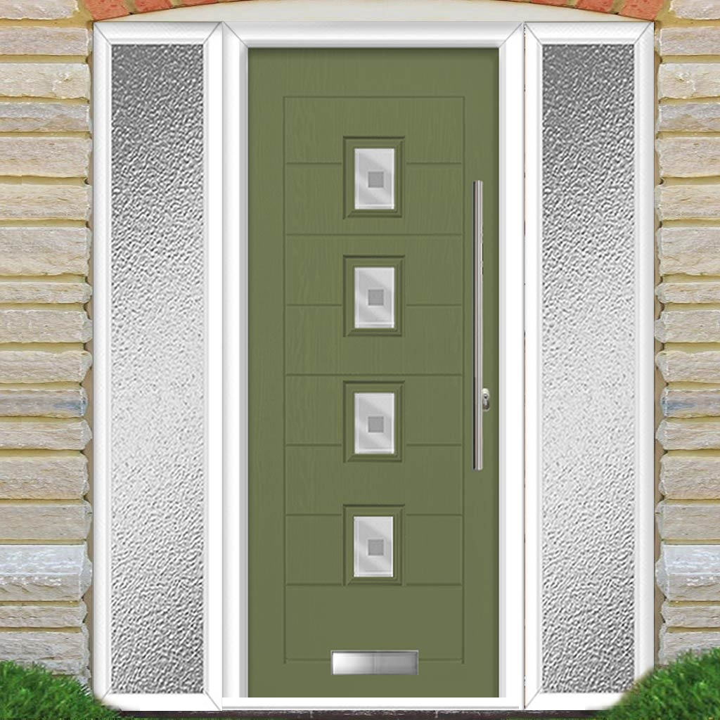 Aruba 4 Urban Style Composite Door Set with Double Side Screen - Central Sandblast Ellie Glass - Shown in Reed Green