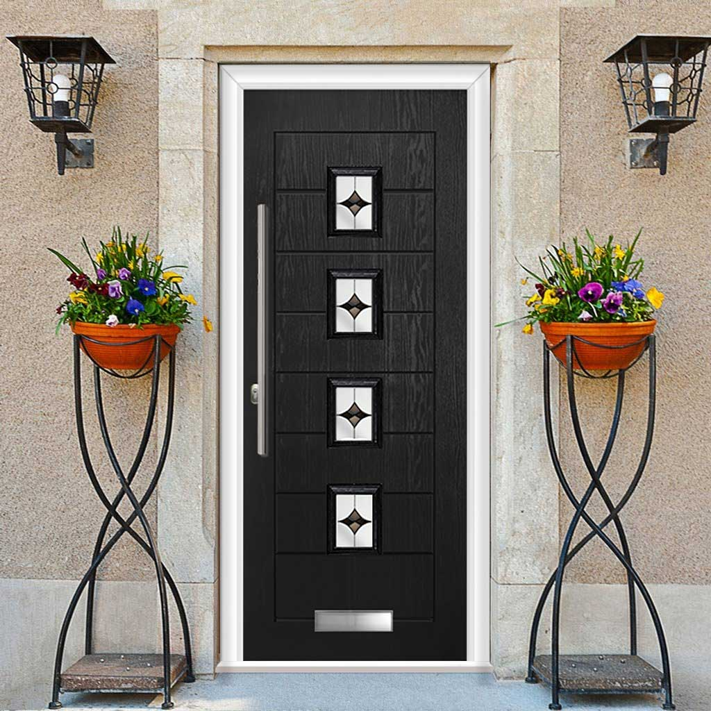 Aruba 4 Urban Style Composite Door Set with Central Laptev Black Glass - Shown in Black