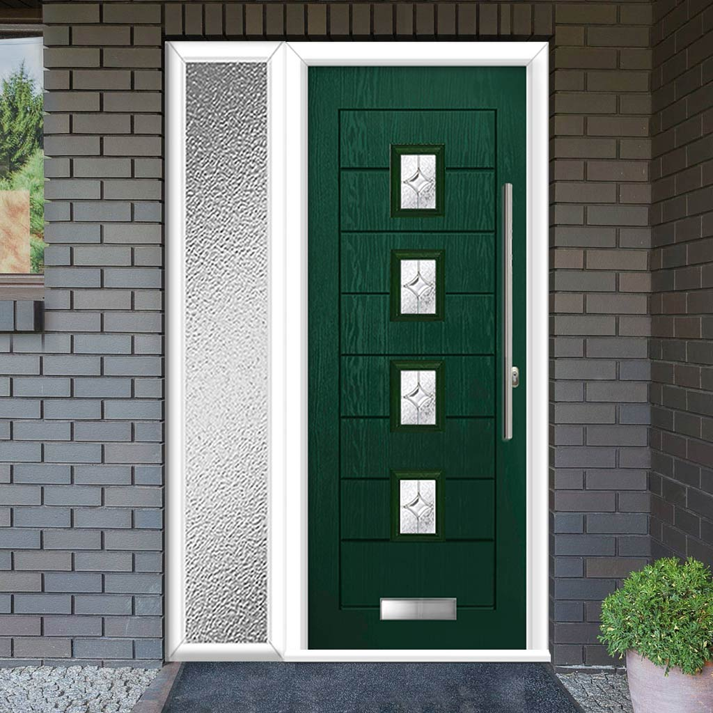 Aruba 4 Urban Style Composite Door Set with Single Side Screen - Flair Glass - Shown in Green