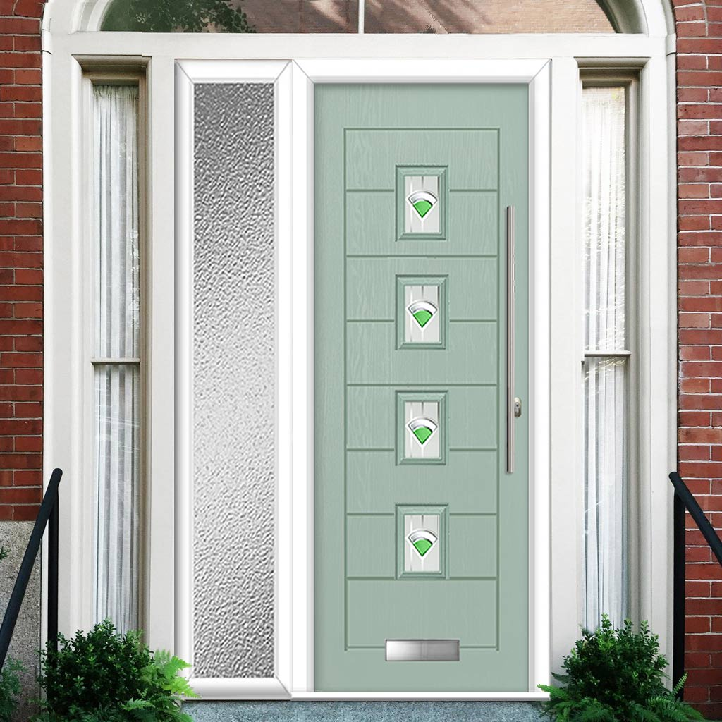 Aruba 4 Urban Style Composite Door Set with Single Side Screen - Central Murano Green Glass - Shown in Chartwell Green