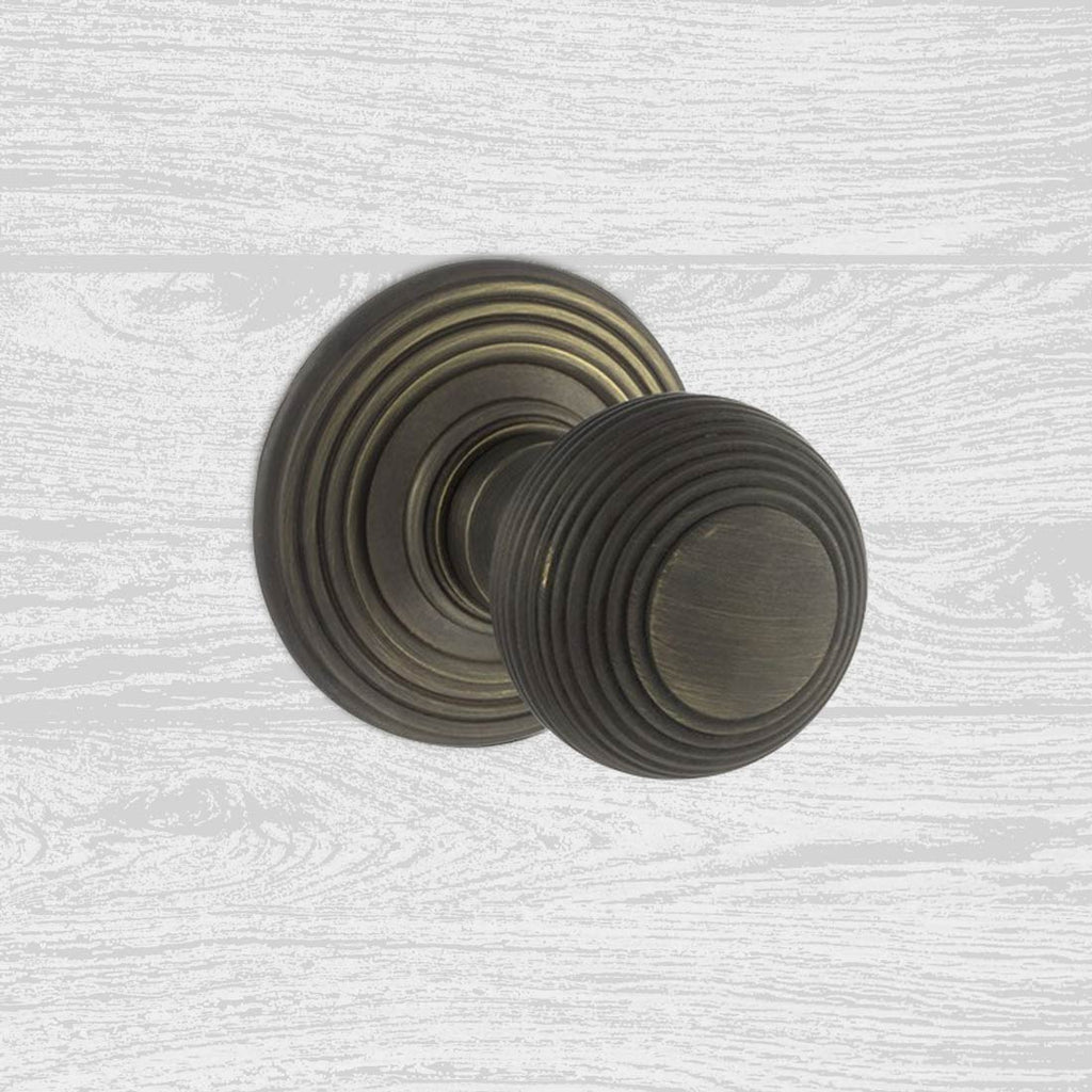 Ripon Reeded Old English Mortice Knob - Urban Bronze