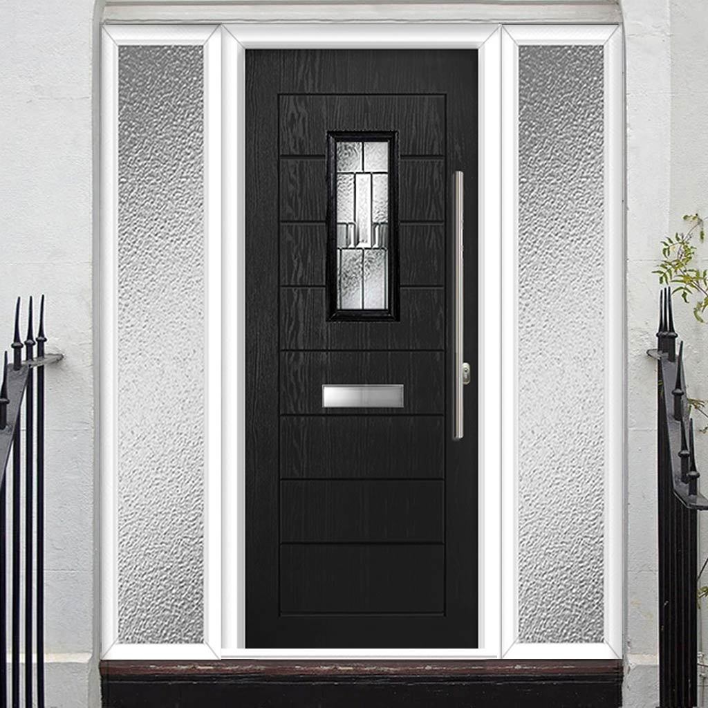Catalina 1 Urban Style Composite Door Set with Double Side Screen - Prairie Glass - Shown in Black