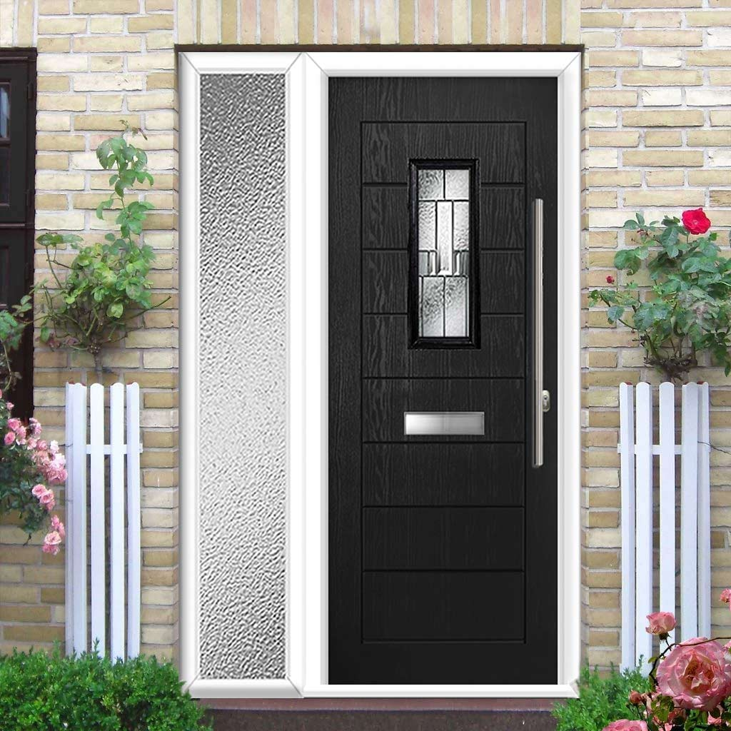 Catalina 1 Urban Style Composite Door Set with Single Side Screen - Prairie Glass - Shown in Black