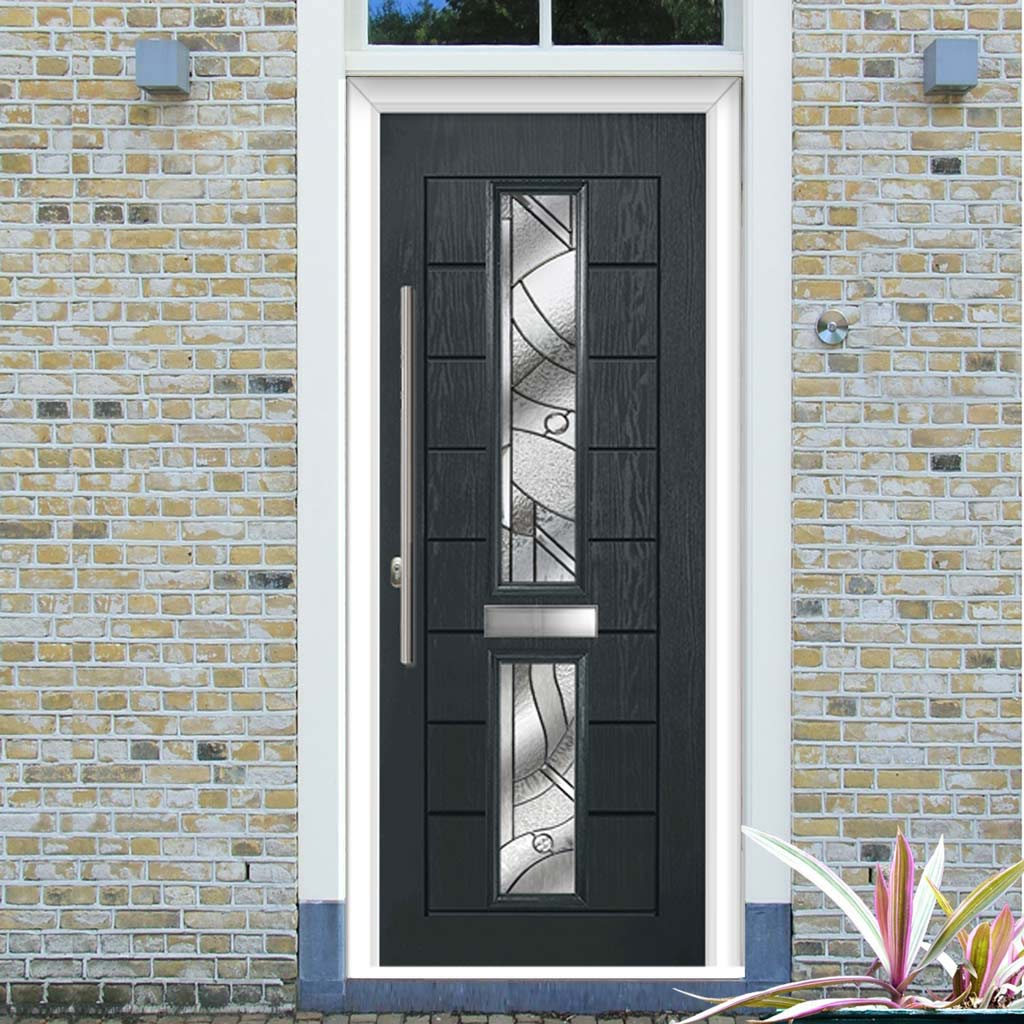 Debonaire 2 Urban Style Composite Door Set with Central Abstract Glass - Shown in Anthracite Grey