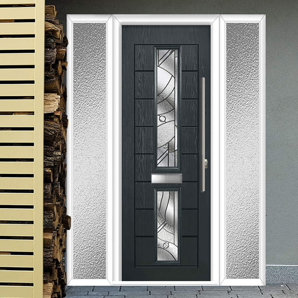 Debonaire 2 Urban Style Composite Door Set with Double Side Screen - Central Abstract Glass - Shown in Anthracite Grey