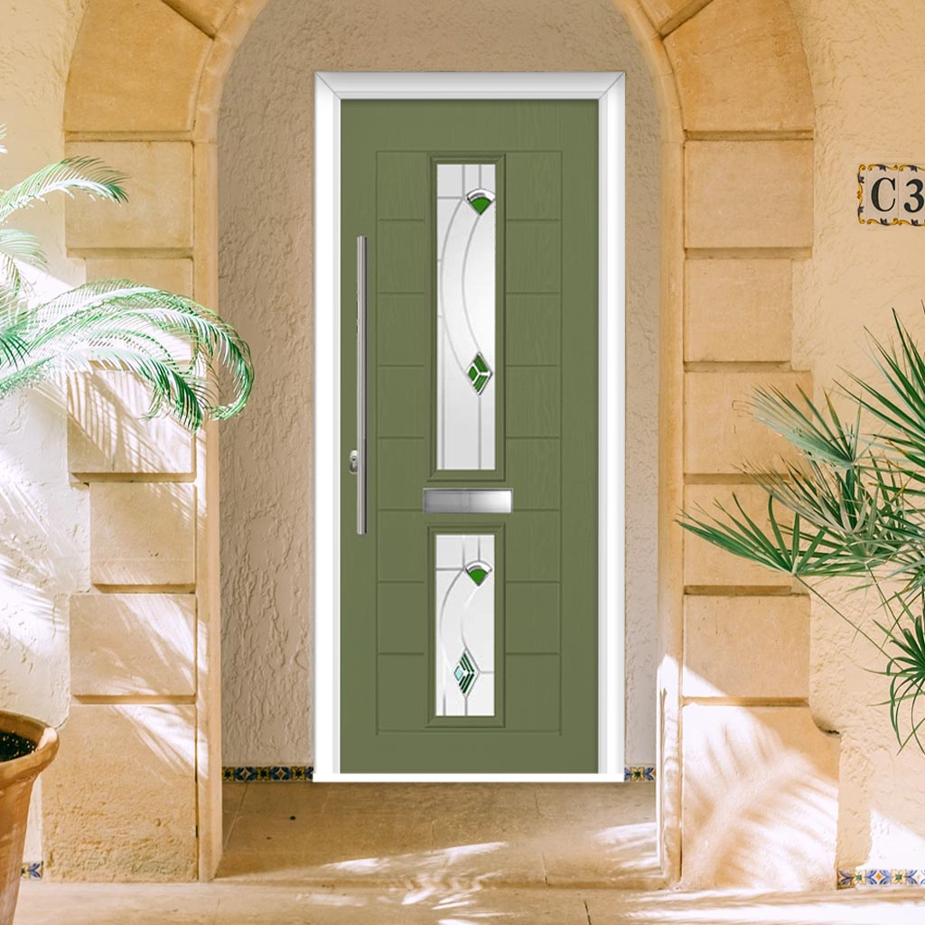 Debonaire 2 Urban Style Composite Door Set with Central Kupang Green Glass - Shown in Reed Green