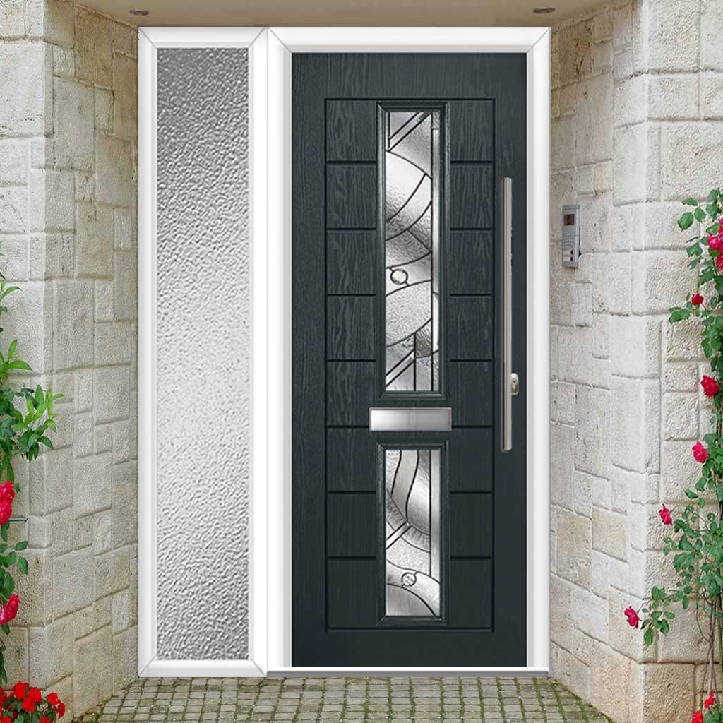 Debonaire 2 Urban Style Composite Door Set with Single Side Screen - Central Abstract Glass - Shown in Anthracite Grey