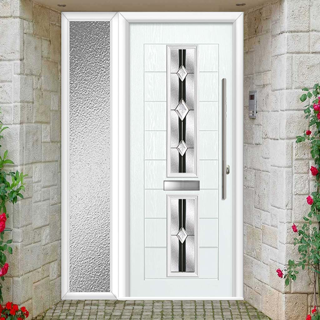 Debonaire 2 Urban Style Composite Door Set with Single Side Screen - Central Jet Glass - Shown in White