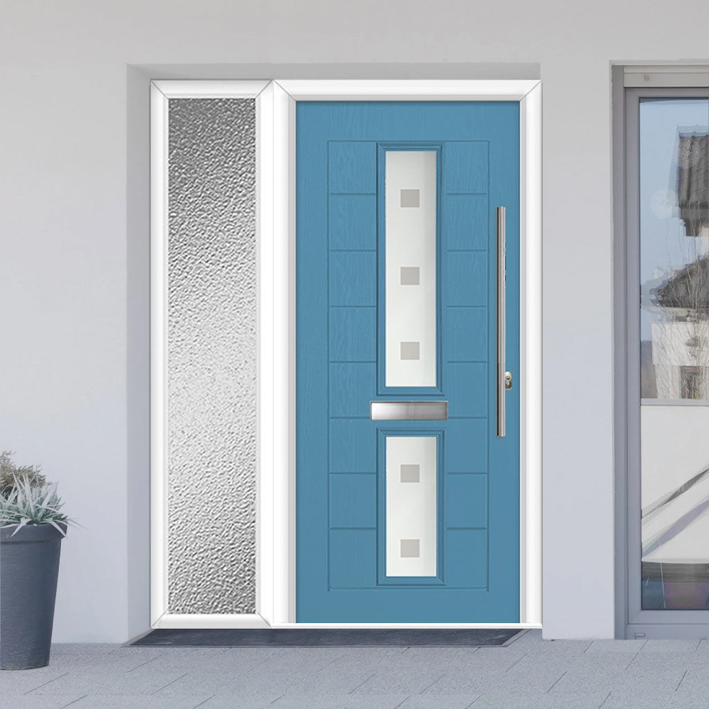Debonaire 2 Urban Style Composite Door Set with Single Side Screen - Central Sandblast Ellie Glass - Shown in Pastel Blue