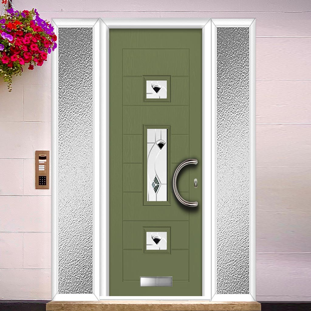 Firenza 3 Urban Style Composite Door Set with Double Side Screen - Central Kupang Black Glass - Shown in Reed Green