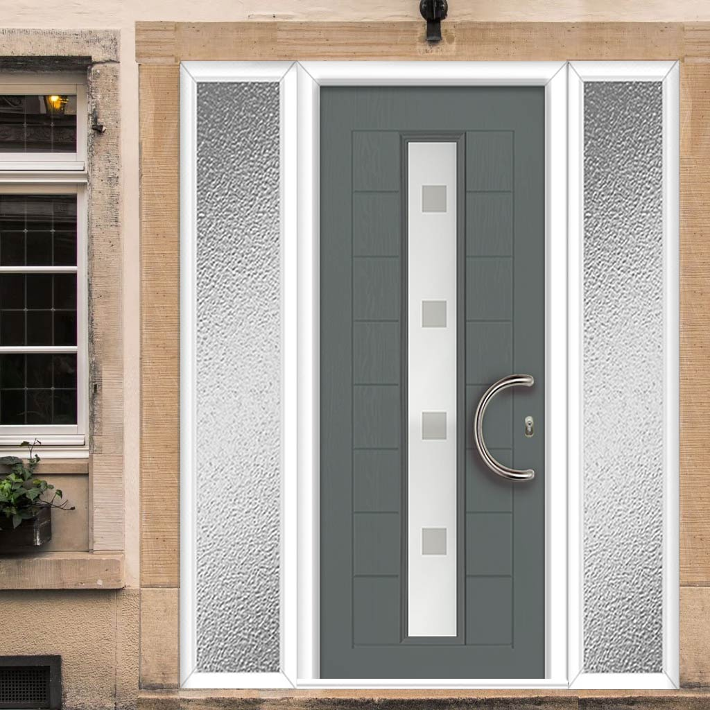 Uracco 1 Urban Style Composite Door Set with Double Side Screen - Sandblast Ellie Glass - Shown in Mouse Grey