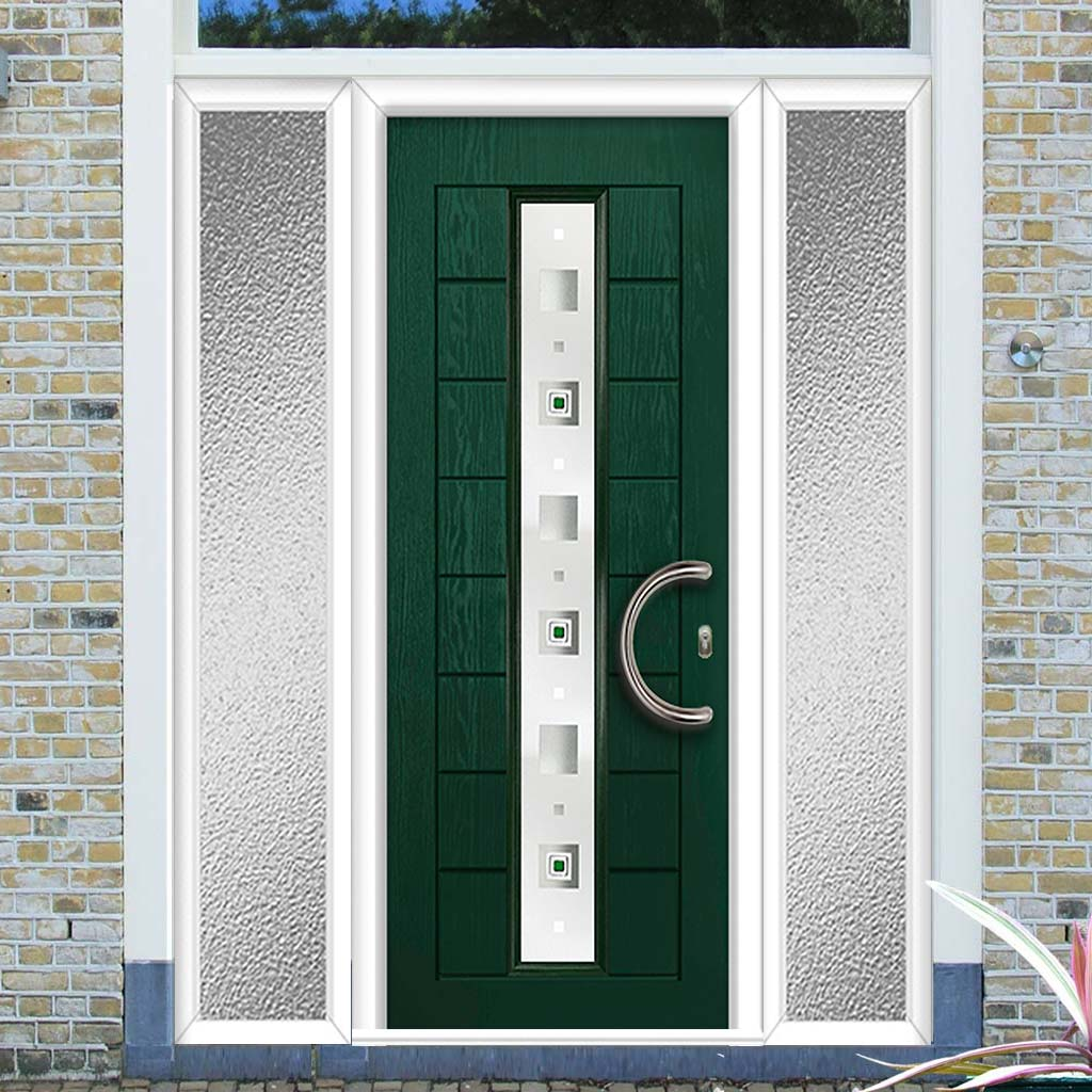 Uracco 1 Urban Style Composite Door Set with Double Side Screen - Central Tahoe Green Glass - Shown in Green