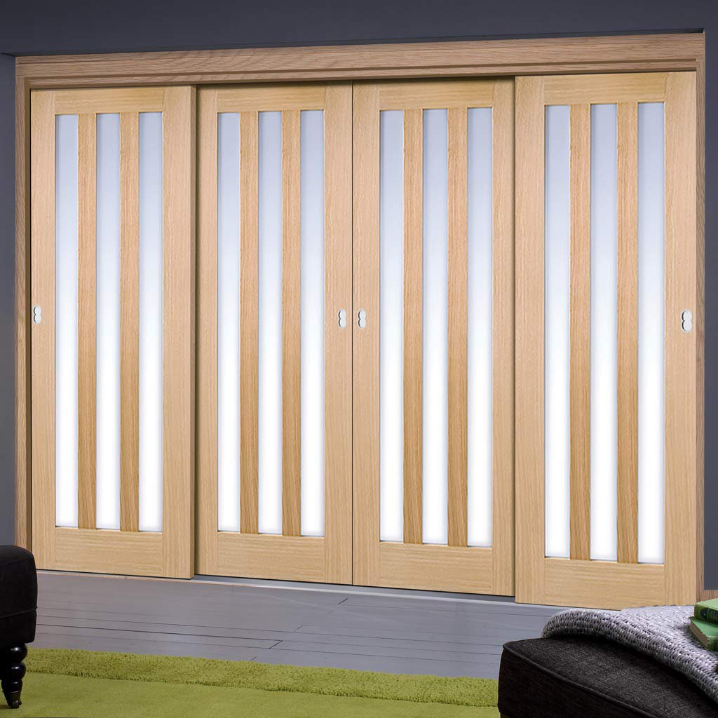 Thruslide Utah 3 Pane Oak 4 Door Wardrobe and Frame Kit - Frosted Glass