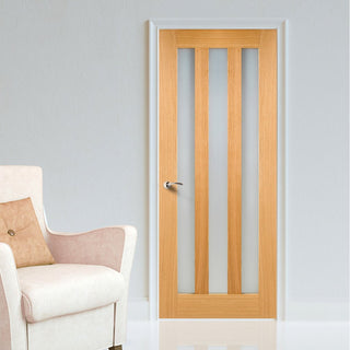 Image: Bespoke Utah Oak Door - Frosted Glass