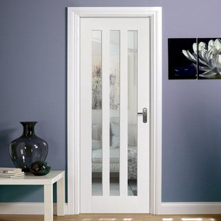 Image: Utah 3 Panel Door - Clear Glass - White Primed