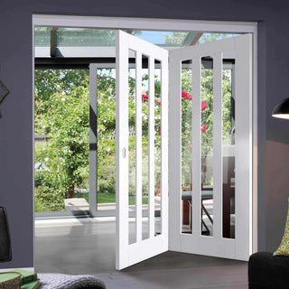 Image: Two Folding Doors & Frame Kit - Utah 3 Pane 2+0 - Clear Glass - White Primed