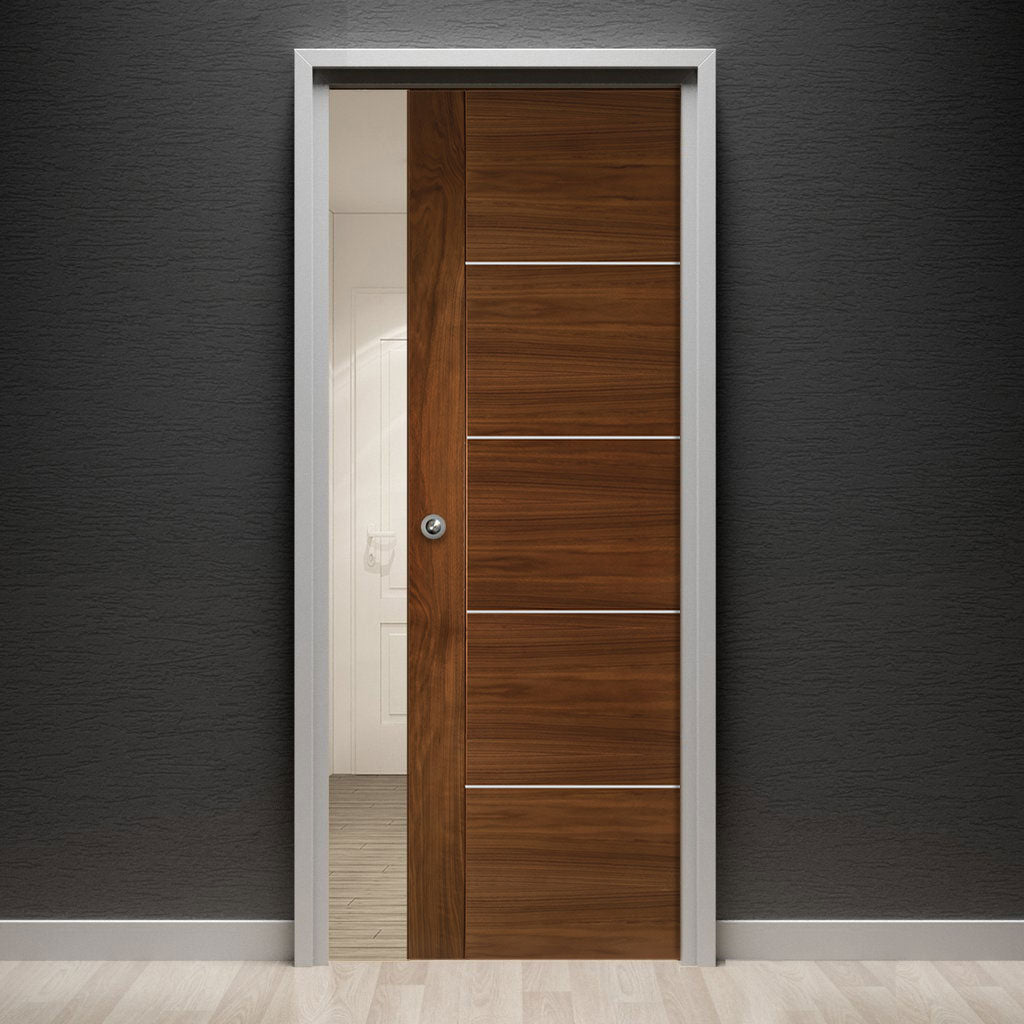 Valencia Walnut Single Evokit Pocket Door - Prefinished