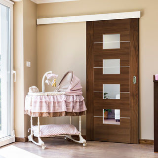 Image: Single Sliding Door & Wall Track - Valencia Glazed Walnut Door - Prefinished