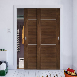 Image: Two Sliding Wardrobe Doors & Frame Kit - Valencia Prefinished Walnut Door