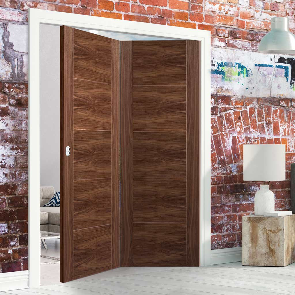 Two Folding Doors & Frame Kit - Vancouver 5 Panel Flush Walnut 2+0 - Prefinished