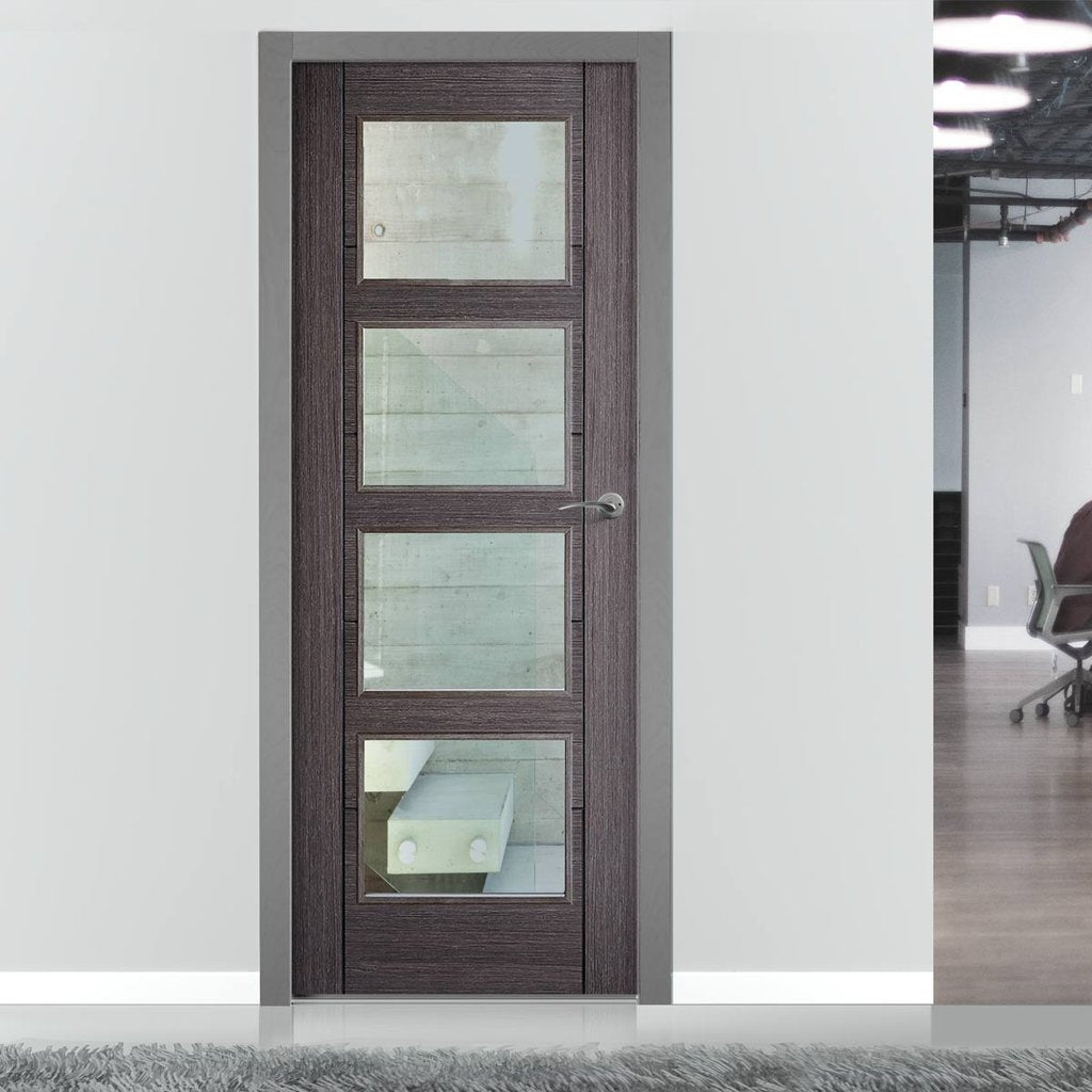 Contemporary grey glazed interior door