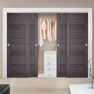 Image: Bespoke Vancouver Ash Grey Door - 4 Door Wardrobe and Frame Kit - Prefinished