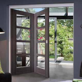 Image: Two Folding Doors & Frame Kit - Vancouver 4 Pane Ash Grey 2+0 - Clear Glass - Prefinished