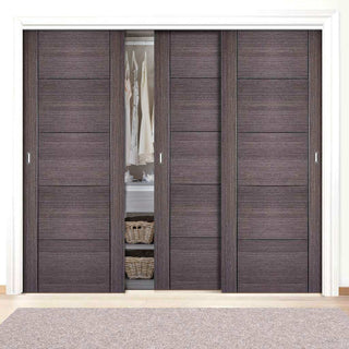 Image: Bespoke Vancouver Ash Grey Door - 3 Door Wardrobe and Frame Kit - Prefinished