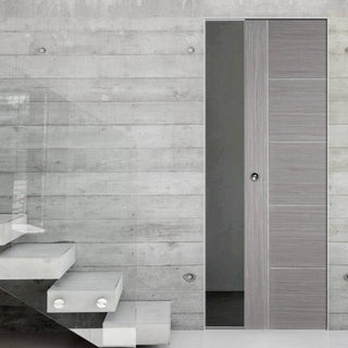 Image: Light Grey Vancouver Absolute Evokit Single Pocket Doors - Prefinished