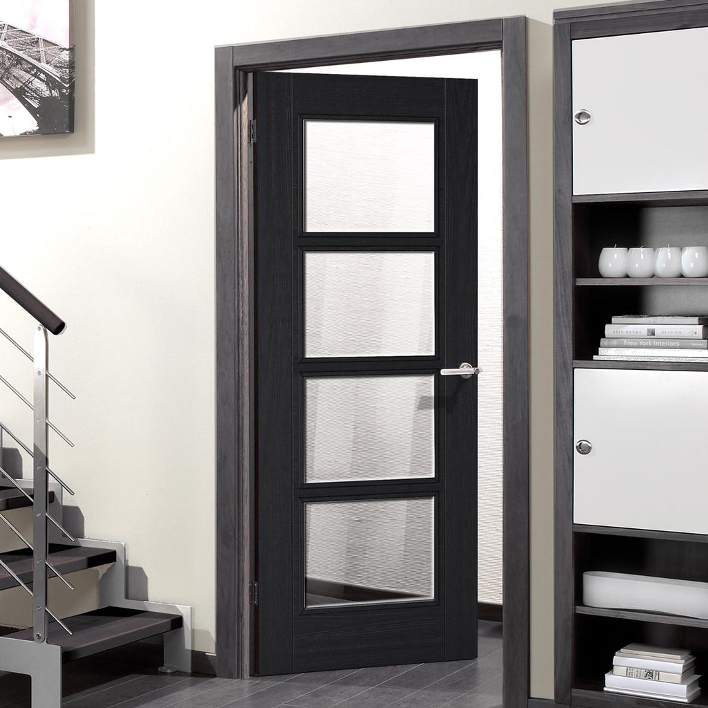 Vancouver Charcoal Black 4L Door - Raised Mouldings - Clear Glass - Prefinished