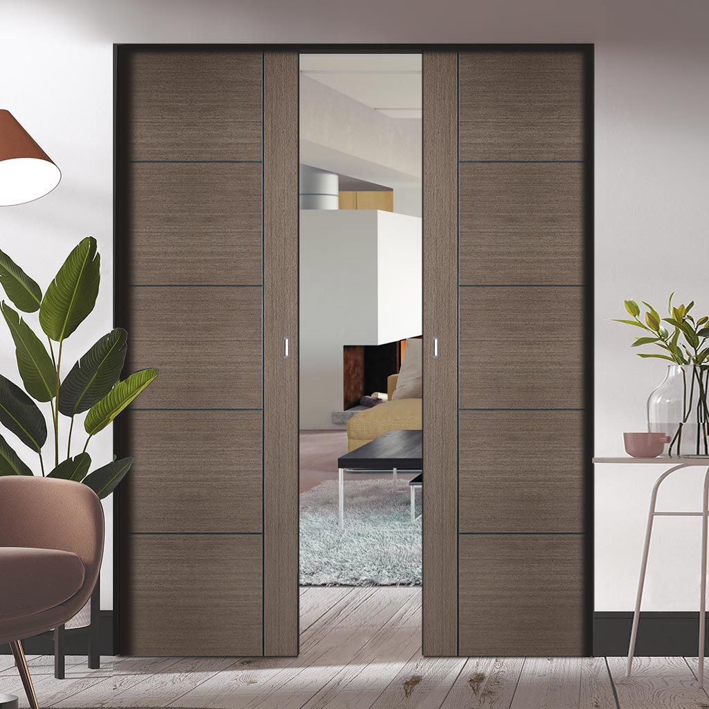 Bespoke Vancouver Chocolate Grey Double Frameless Pocket Door - Prefinished