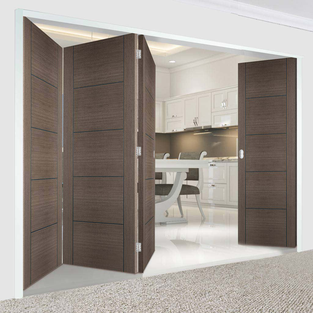 Four Folding Doors & Frame Kit - Vancouver Flush Chocolate Grey 3+1 - Prefinished