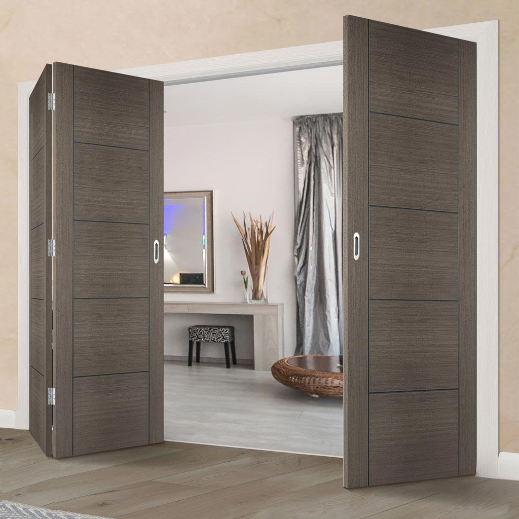 Three Folding Doors & Frame Kit - Vancouver Flush Chocolate Grey 2+1 - Prefinished