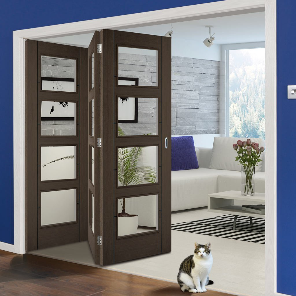 Three Folding Doors & Frame Kit - Vancouver 4 Pane Chocolate Grey 3+0 - Clear Glass - Prefinished