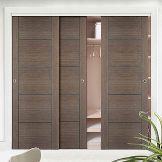 Image: Bespoke Vancouver Chocolate Grey Door - 3 Door Wardrobe and Frame Kit - Prefinished
