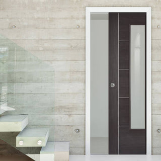 Image: Laminate Vancouver Dark Grey Single Evokit Pocket Door - Clear Glass - Prefinished