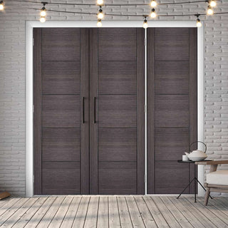 Image: ThruEasi Room Divider - Vancouver Flush Ash Grey Prefinished Double Doors with Single Side - 2018mm High - Multiple Widths