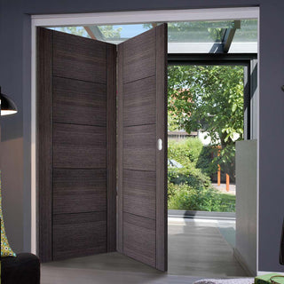 Image: Two Folding Doors & Frame Kit - Vancouver Flush Ash Grey 2+0 - Prefinished