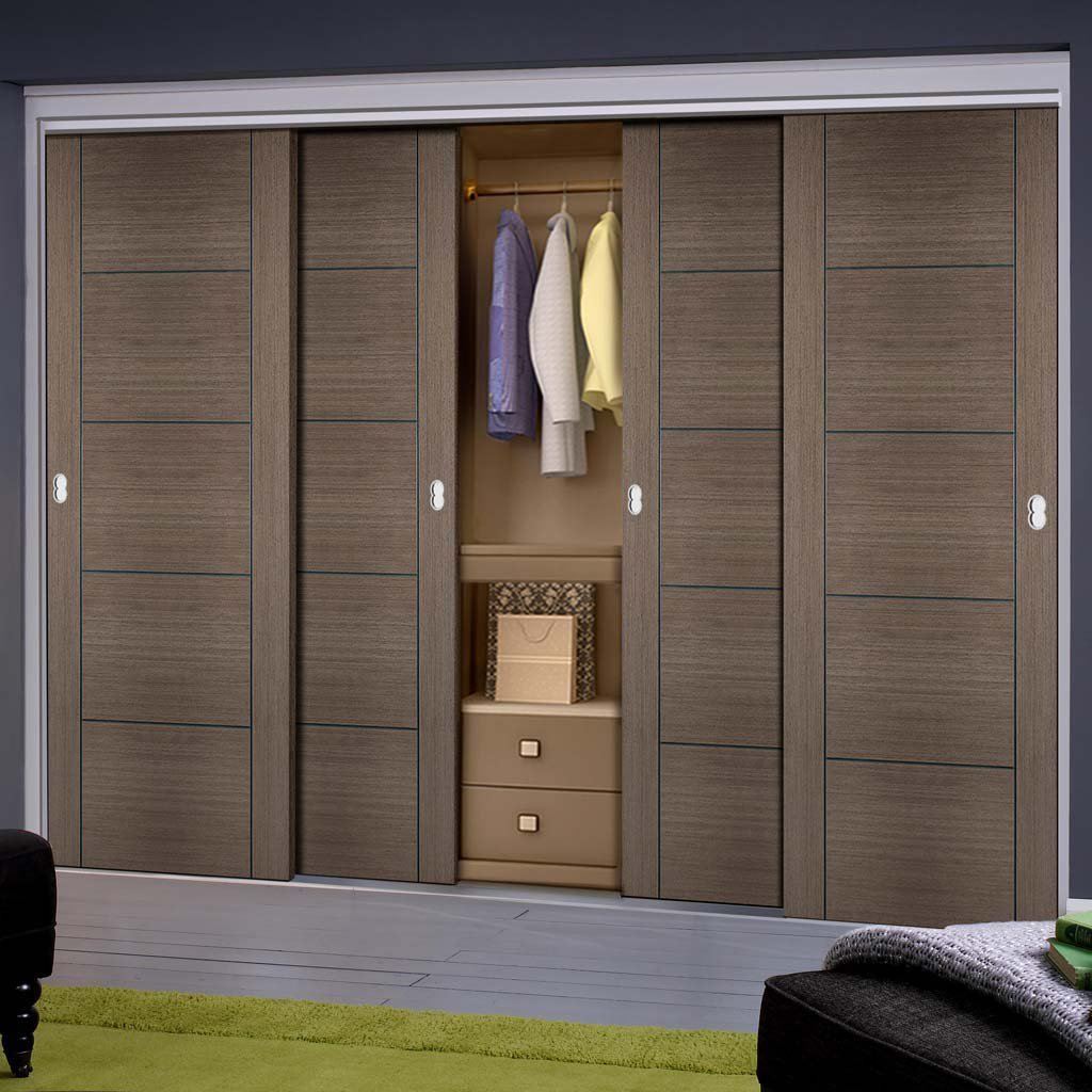 Minimalist Wardrobe Door & Frame Kit - Four Vancouver Flush Chocolate Grey Doors - Prefinished
