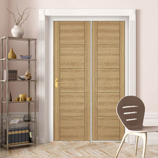 Image: ThruEasi Room Divider - Laminate Vancouver Oak Colour Prefinished Door with Single Side - 2018mm High - Multiple Widths