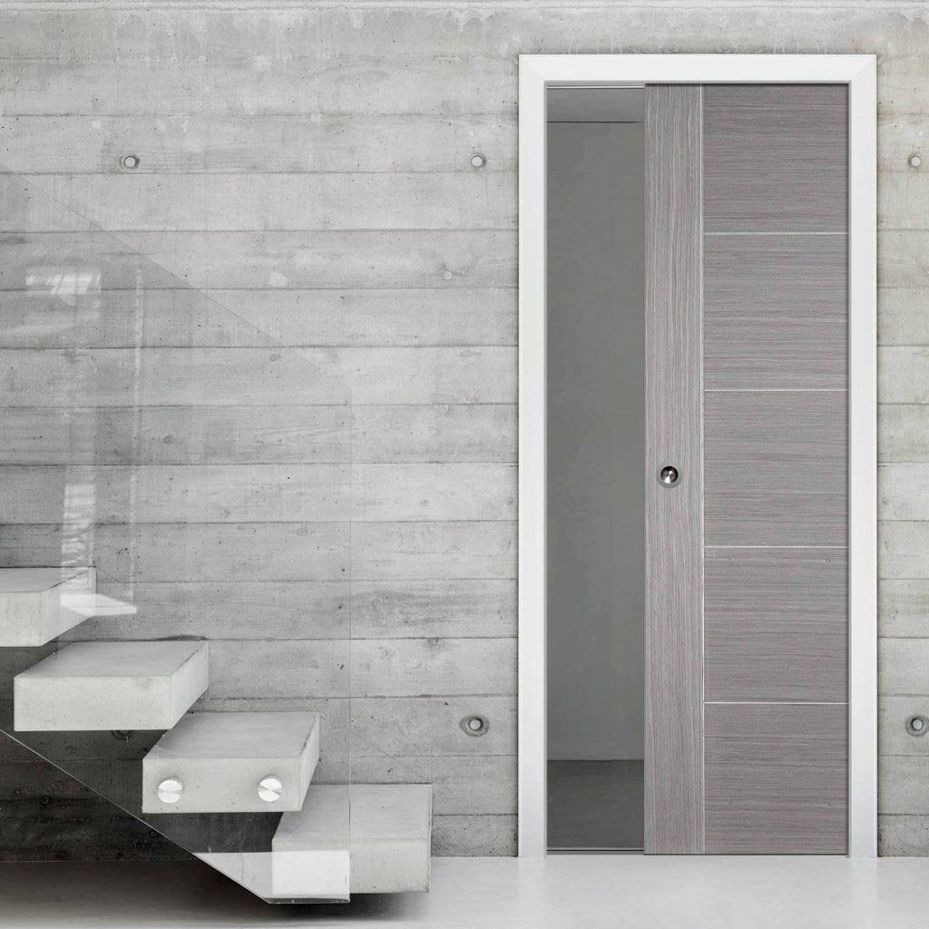 Light Grey Vancouver Single Evokit Pocket Door - Prefinished