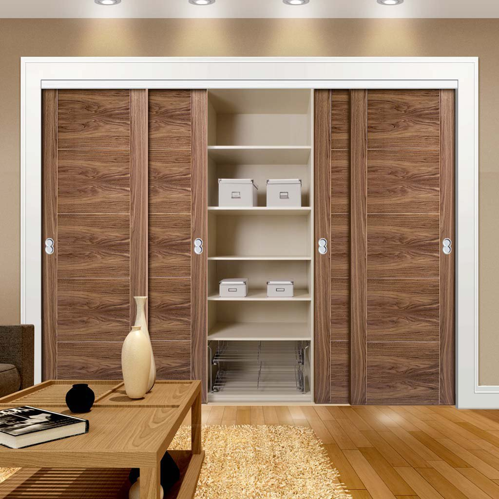 Minimalist Wardrobe Door & Frame Kit - Four Vancouver 5 Panel Flush Walnut Doors - Prefinished