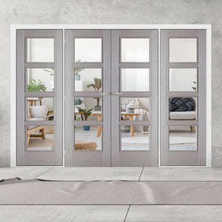 Image: ThruEasi Room Divider - Vancouver Light Grey - Clear Glass Prefinished Double Doors with Double Sides - 2018mm High - Multiple Widths
