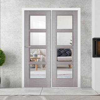Image: ThruEasi Room Divider - Vancouver Light Grey - Clear Glass Prefinished Door with Single Side - 2018mm High - Multiple Widths