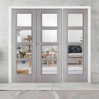 Image: ThruEasi Room Divider - Vancouver Light Grey - Clear Glass Prefinished Double Doors with Single Side - 2018mm High - Multiple Widths