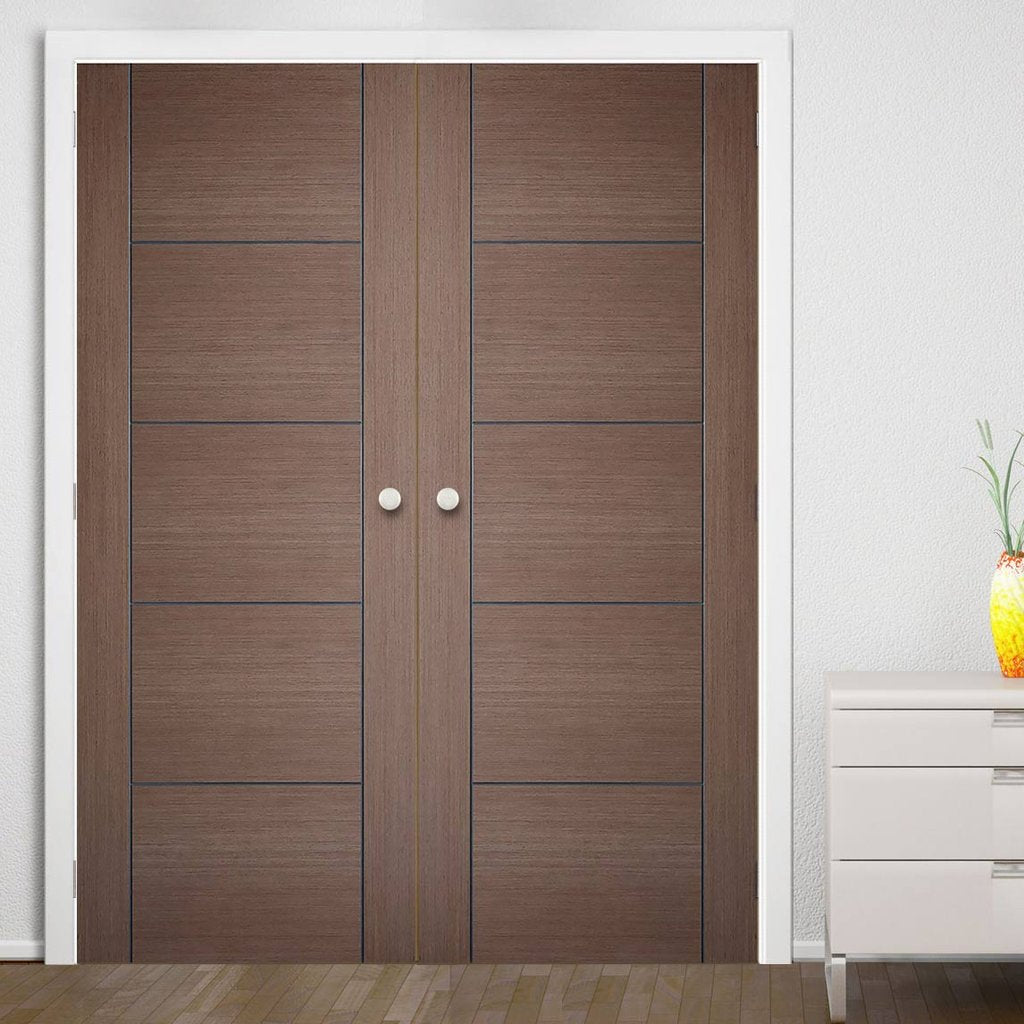 Bespoke Vancouver Chocolate Grey Door Pair - Prefinished