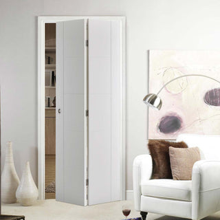 Image: Vancouver Flush Bifold Door - White Primed