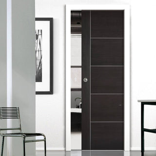 Image: Laminate Vancouver Dark Grey Single Evokit Pocket Door - Prefinished