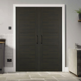 Image: Vancouver Smoked Oak Flush Internal Door Pair - Prefinished
