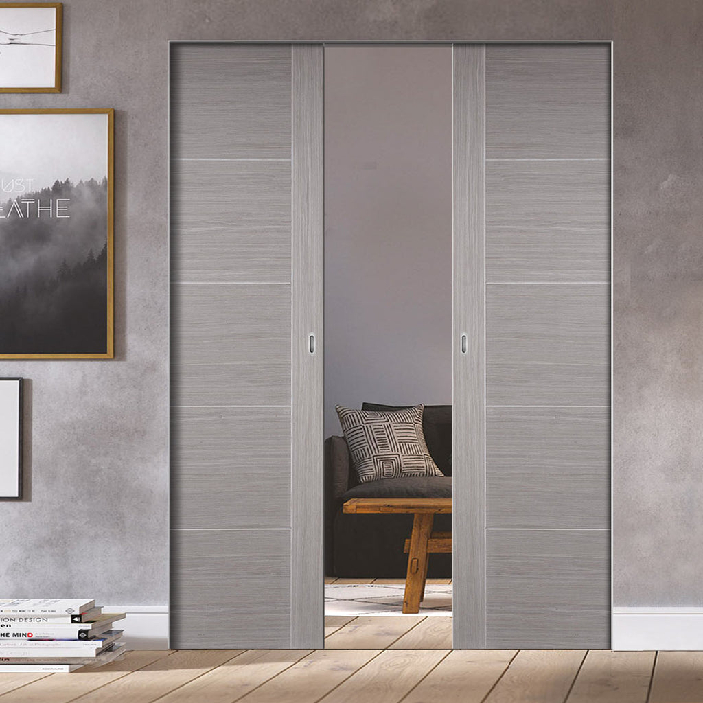 Bespoke Light Grey Vancouver Double Frameless Pocket Door - Prefinished